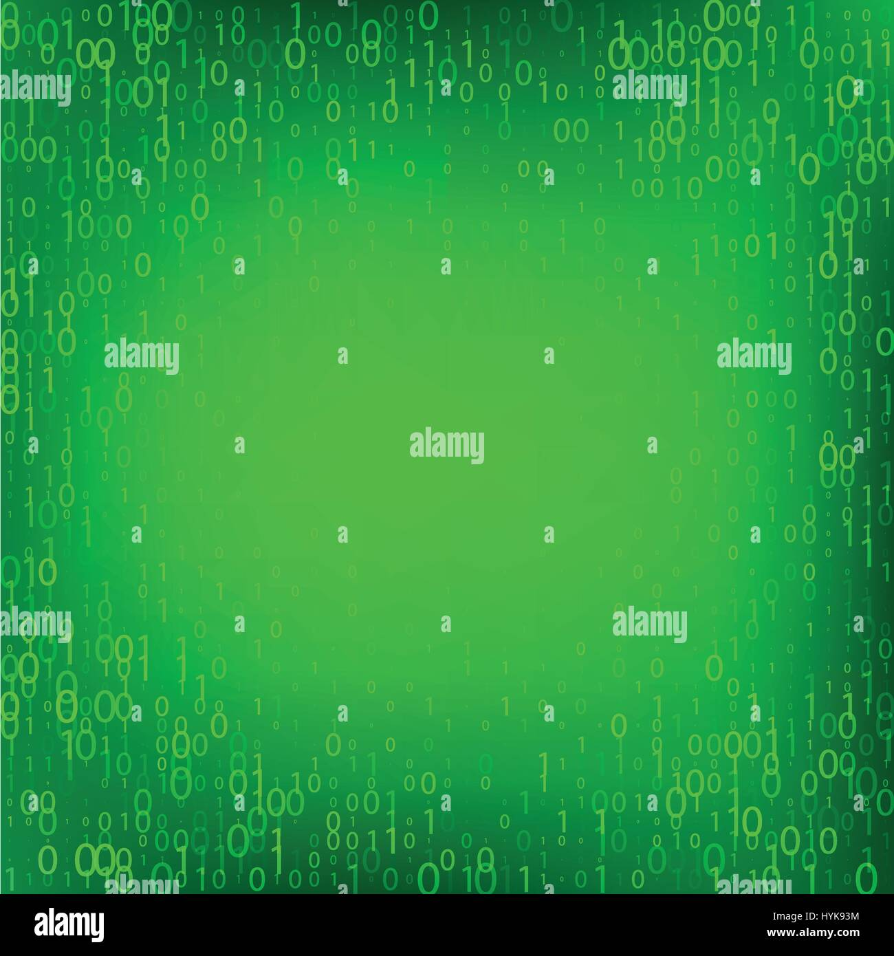 Isolated abstract green color binary code fall background, programming element backdrop vector illustration - Stock Image