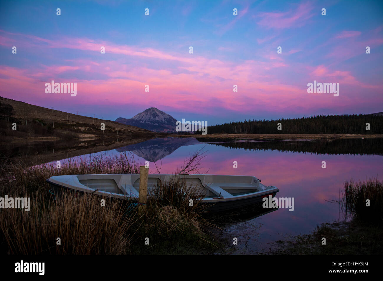 Errigal Mountain Sunset Gweedore Dunlewey Donegal Ireland - Stock Image