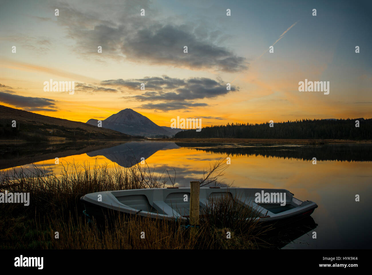 Errigal Mountain Sunrise Gweedore Dunlewey Donegal Ireland - Stock Image