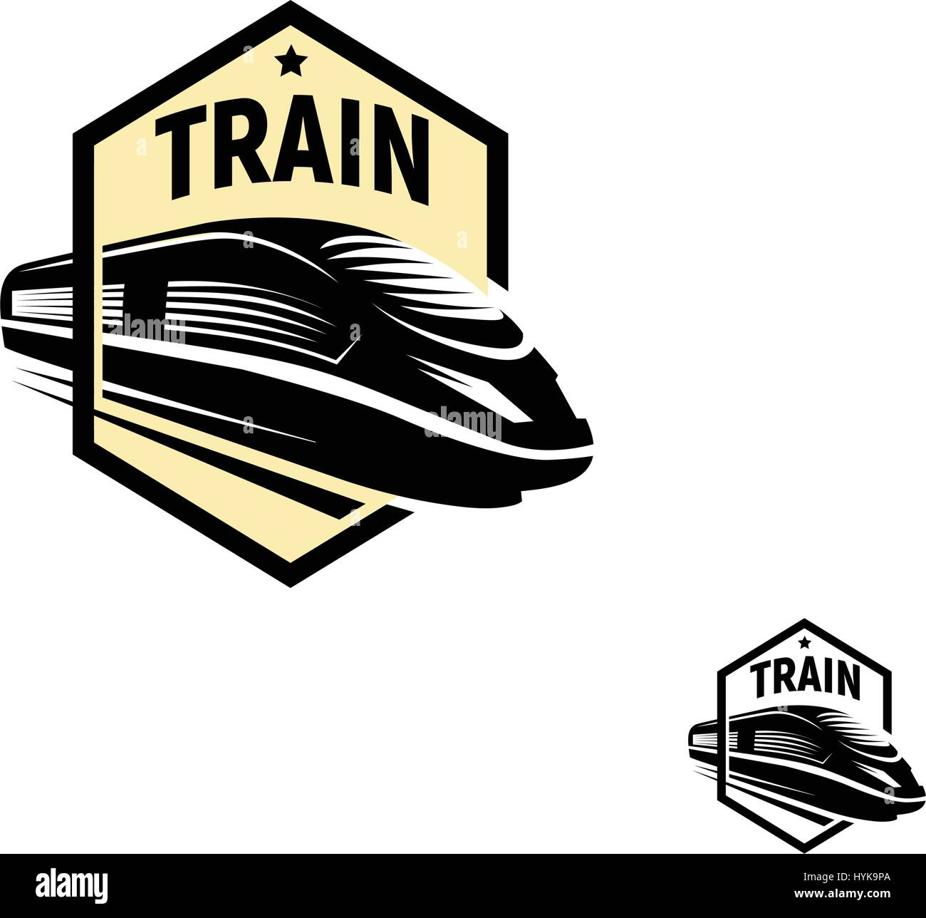 Isolated abstract black color train in square logo on white background, monochrome modern railway transport logotype, Stock Vector