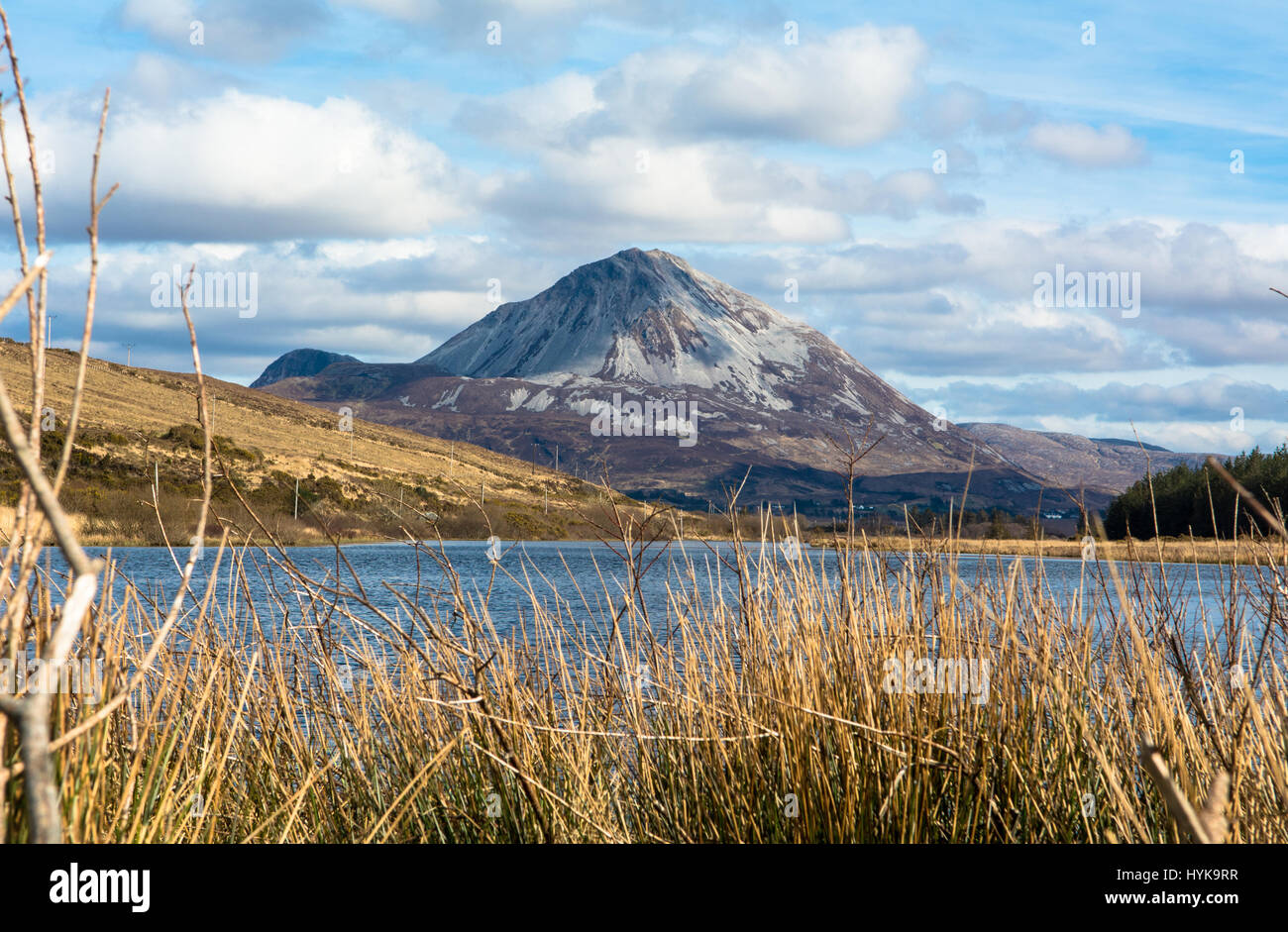 Errigal Mountain Gweedore Dunlewey Donegal Ireland Europe - Stock Image