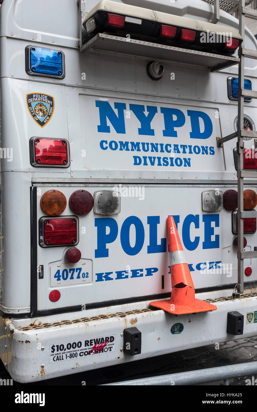 New York Police Department Communications Division parked truck in New York City, USA - Stock Image