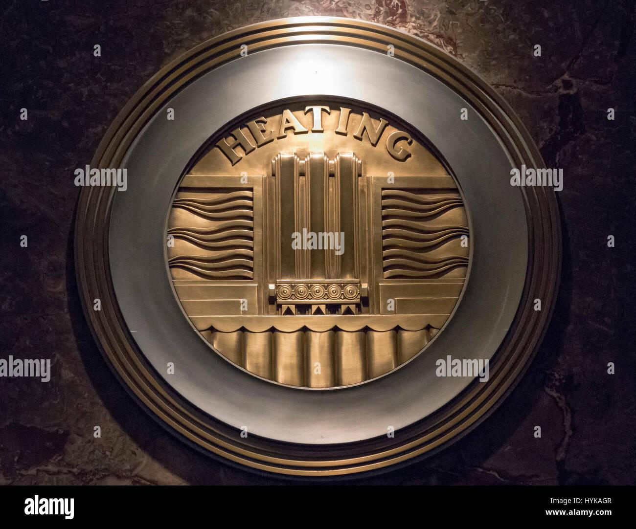 heating emblem, lobby, Empire State Building, Manhattan, New York City, USA - Stock Image