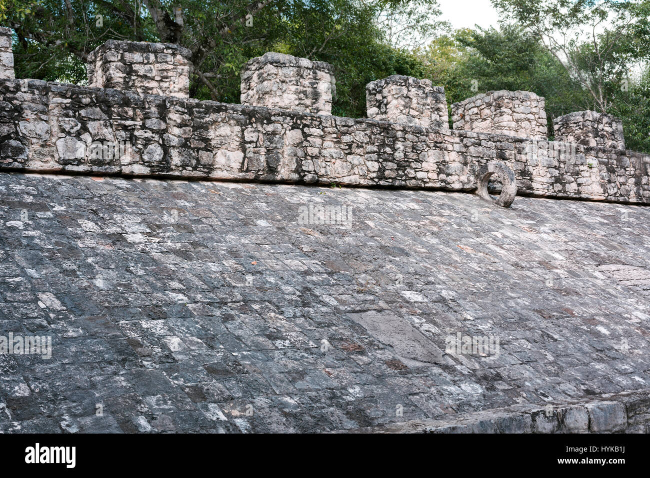 the stone ring on sloping side of the Ball Court at the Mayan Coba Ruins, Mexico - Stock Image