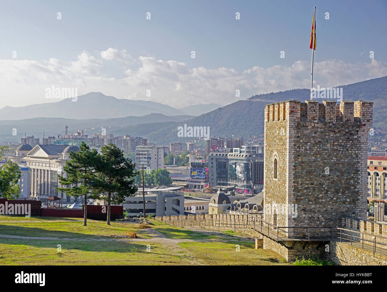 Overview of city of Skopje with wall and watch tower of Skopje Fortress. - Stock Image
