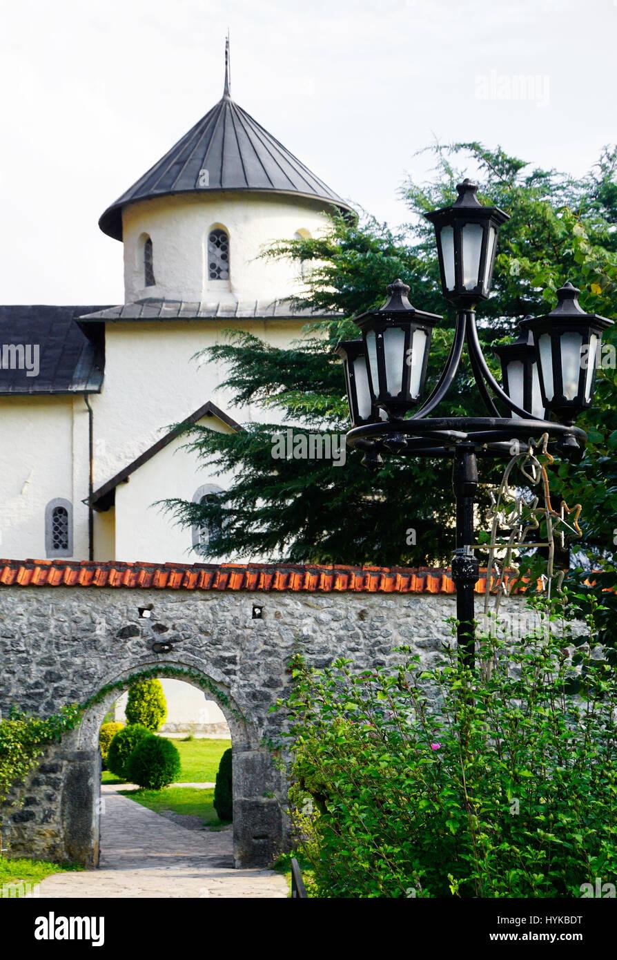 Gate to Moraca Monastery of the Serbian Orthodox Christian Church near Kolasin, Montenegro. - Stock Image