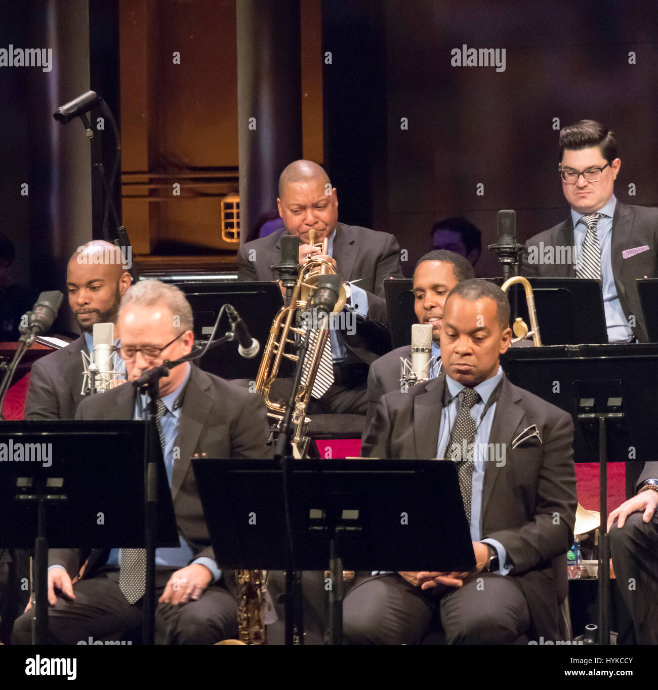 Jazz of the '50s: Overflowing with Style concert, Jazz at Lincoln Center orchestra, Wynton Marsalis, orchestra leader, - Stock Image
