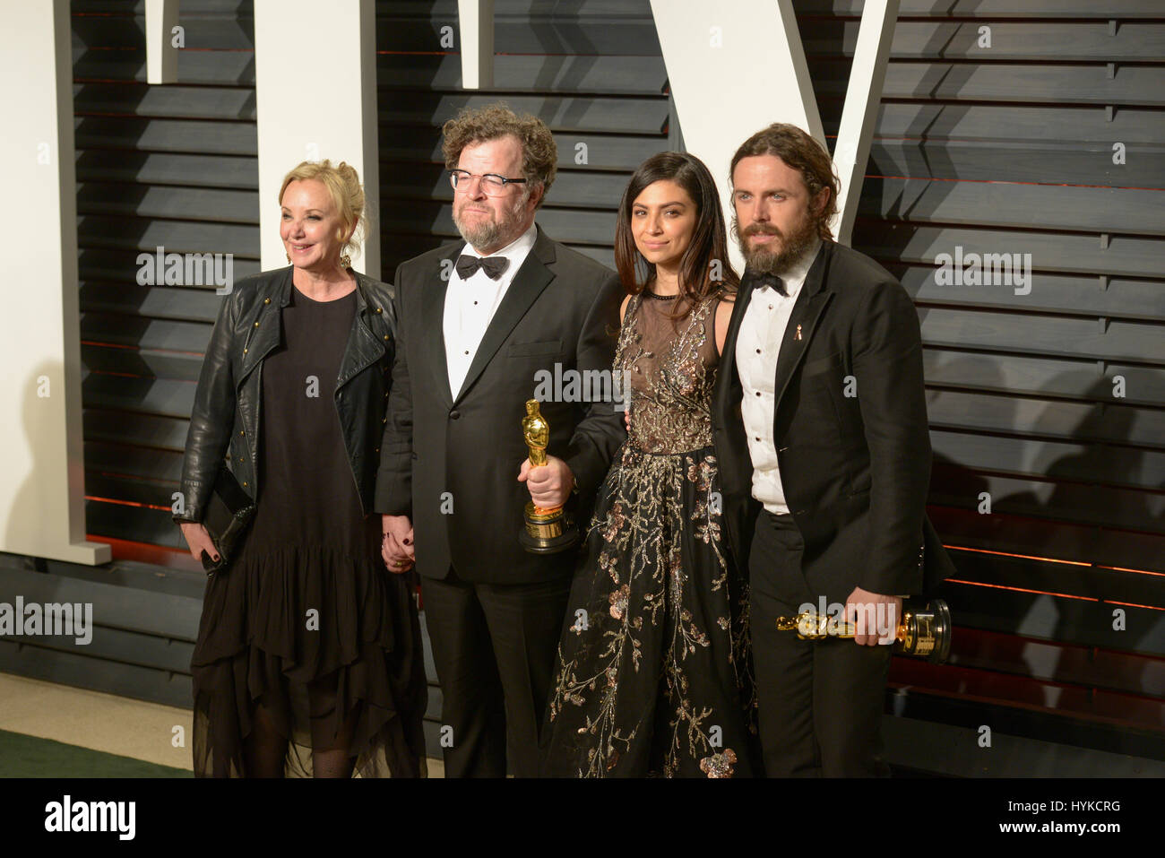 J.Smith-Cameron, Kenneth Lonergan, Floriana Lima and Casey Affleck attending the Vanity Fair Oscar Party at the - Stock Image