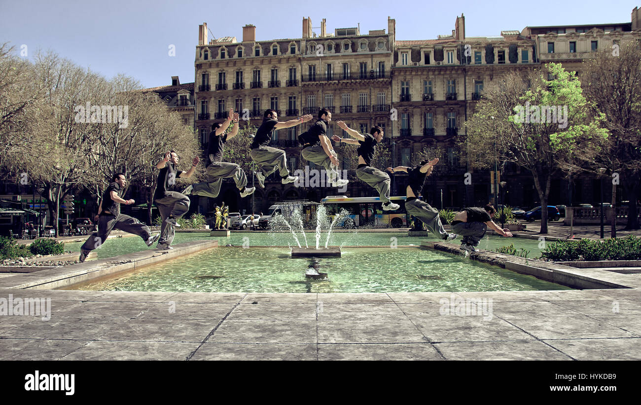Parkour jump in Marseille - Stock Image