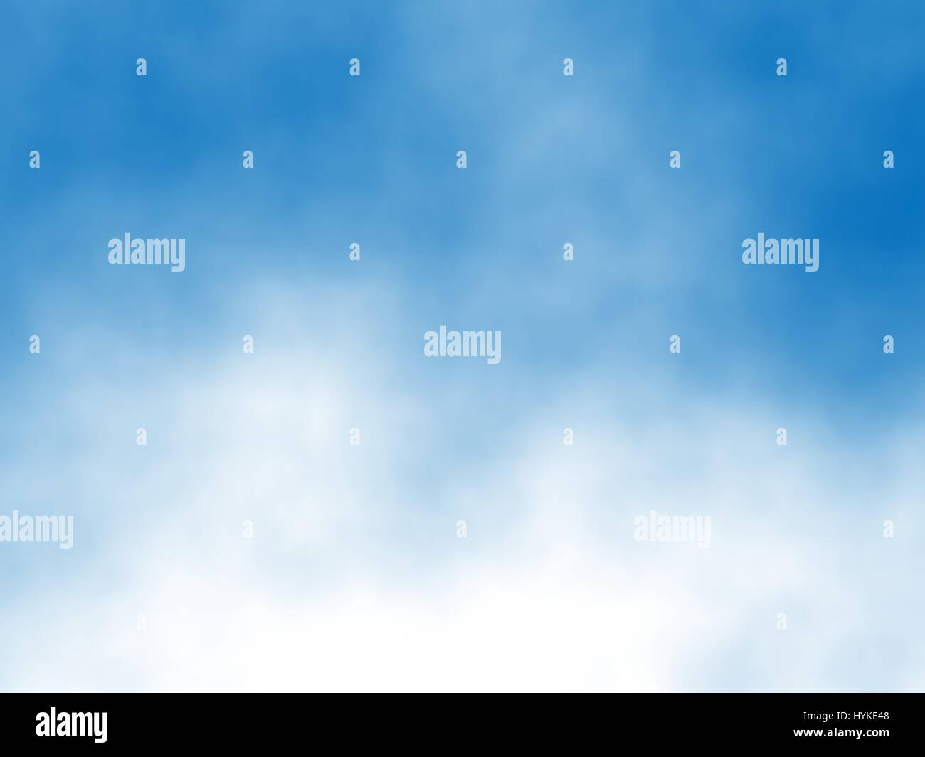 Editable vector detail of white clouds in a blue sky created with a gradient mesh - Stock Vector