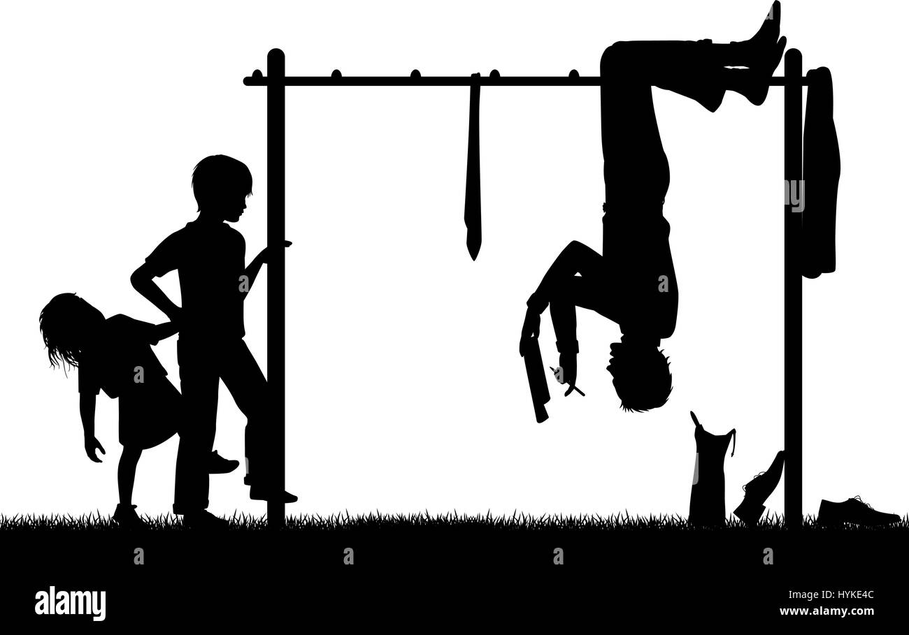 Editable vector silhouette of a man hanging upside down on a children's climbing frame to get a new perspective - Stock Vector