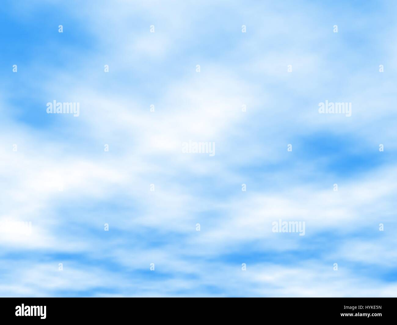Editable vector illustration of white clouds in a blue sky made using a gradient mesh - Stock Image