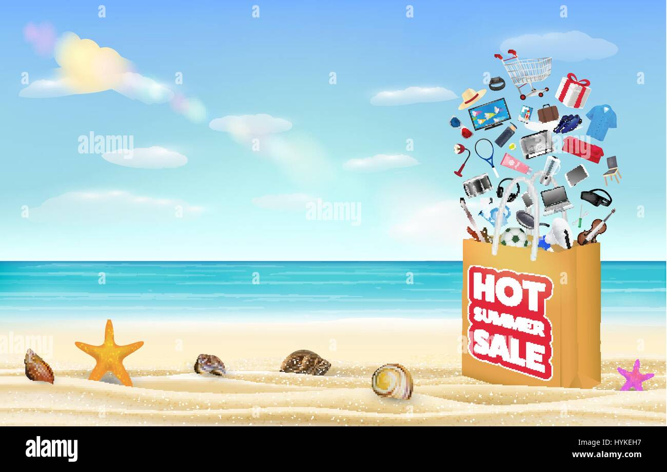 hot summer sale shopping bag with many product floating over on a sea sand beach - Stock Vector