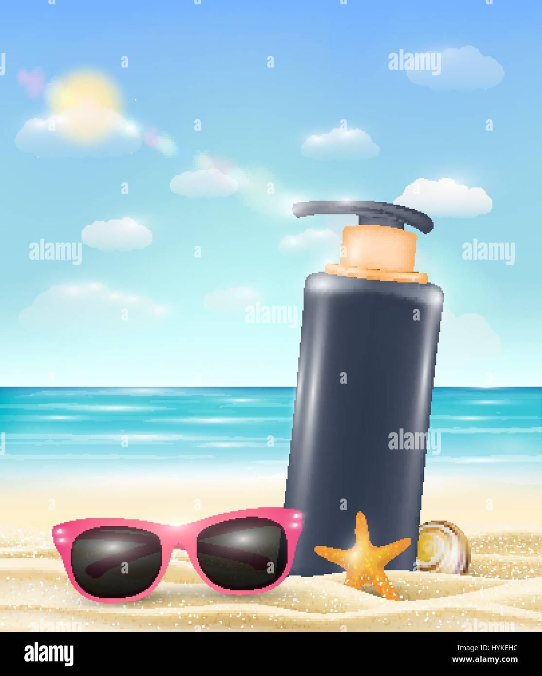 uv protection cream tube with sun glasses starfish and shell on a sand beach - Stock Image