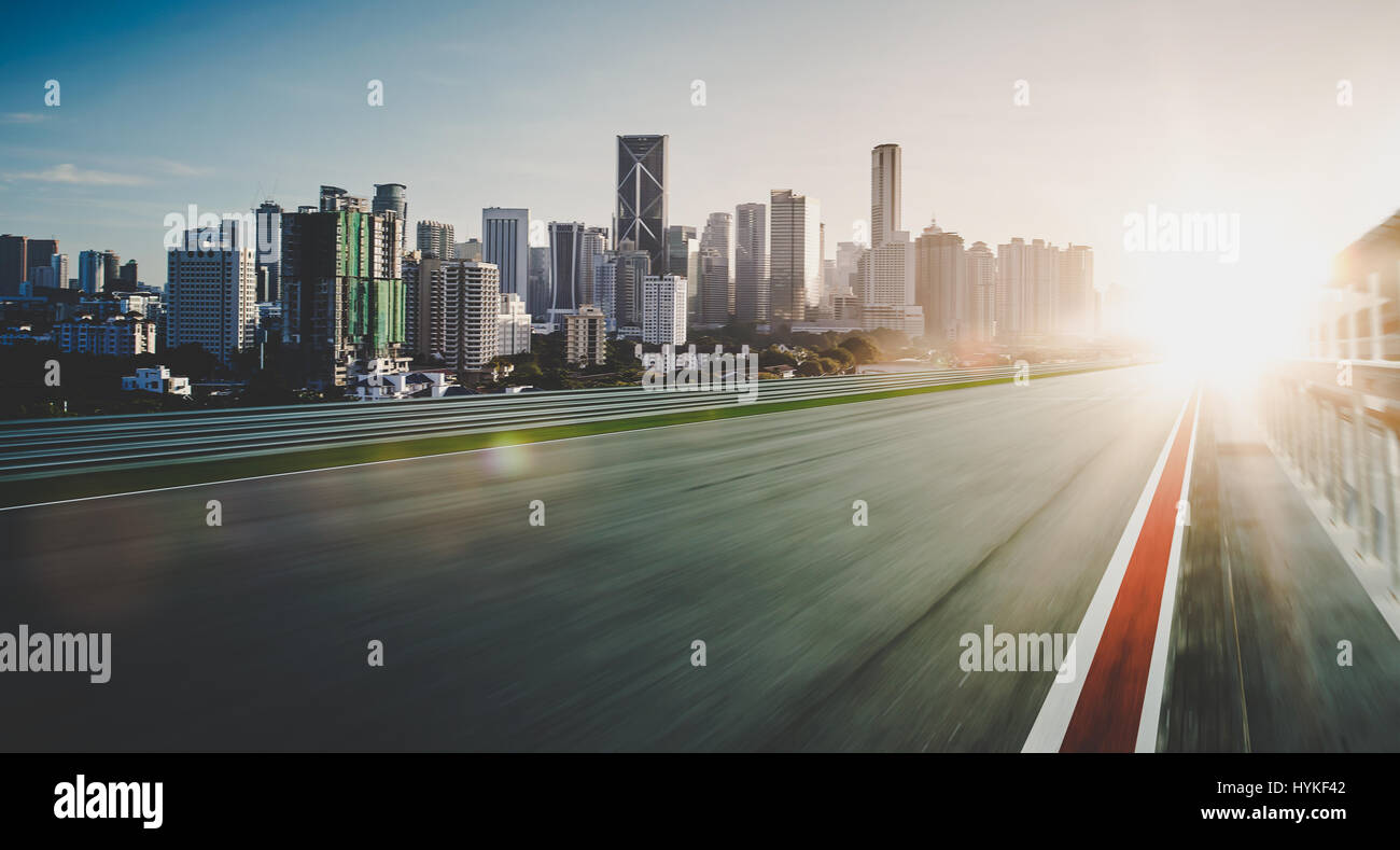 Motion blurred racetrack - Stock Image