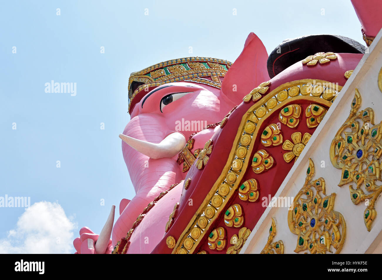 Looking uo at the pink elephant (representing Ganesh) in Wat Phrong Akat in Bang Nam Phriao District in Central - Stock Image