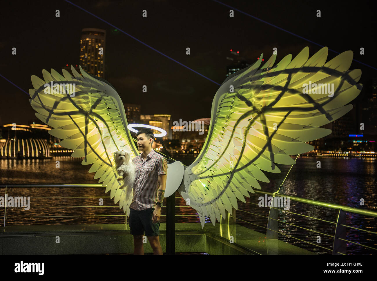 MARINA BAY, SINGAPORE: This light installation called Angels of Freedom  seeks to remind visitors of their true - Stock Image