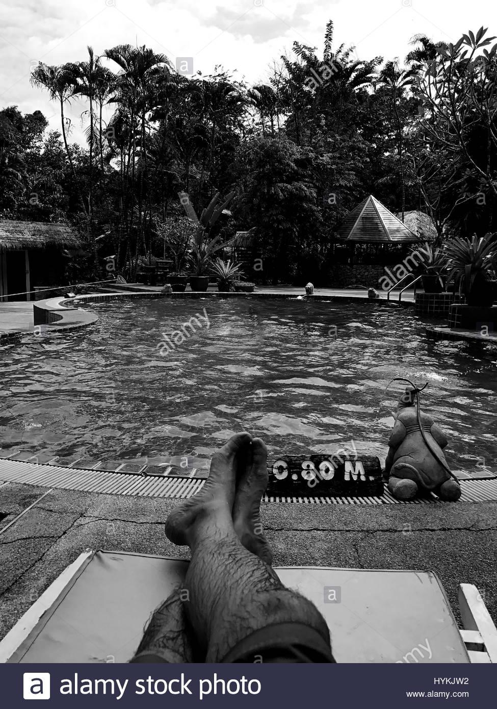 legs feet pool water vegetation black white - Stock Image