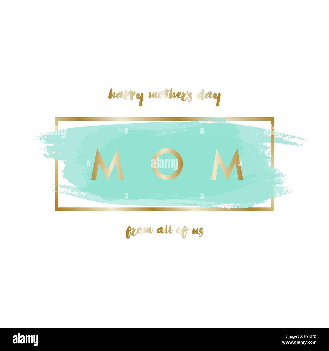 Mothers Day Greeting Card Design With Gold Letters Message And