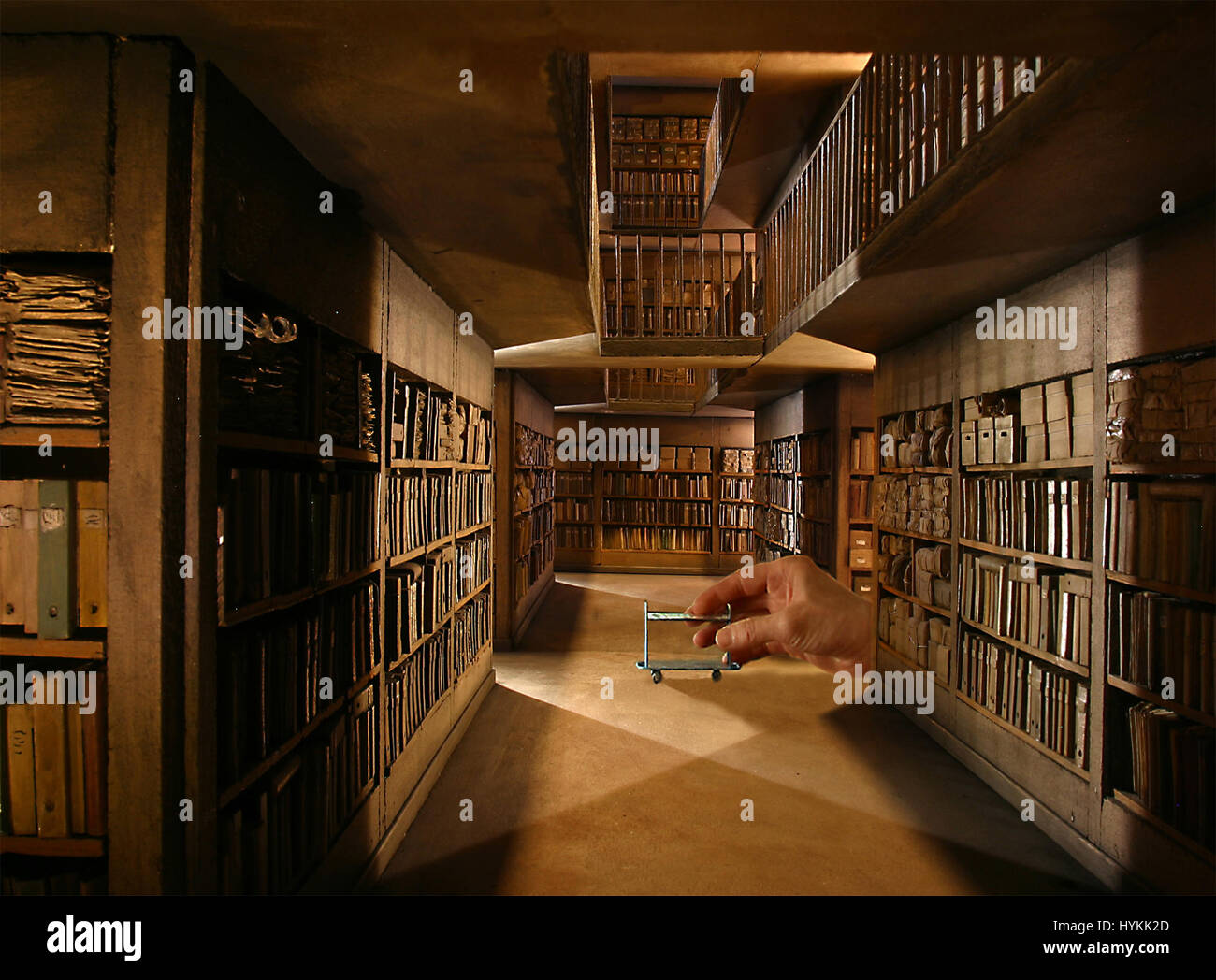 LYON, FRANCE: One to twelve scale replica of 'Les Archives' by Dan Ohlmann. STEP INTO the miniature world of this Stock Photo
