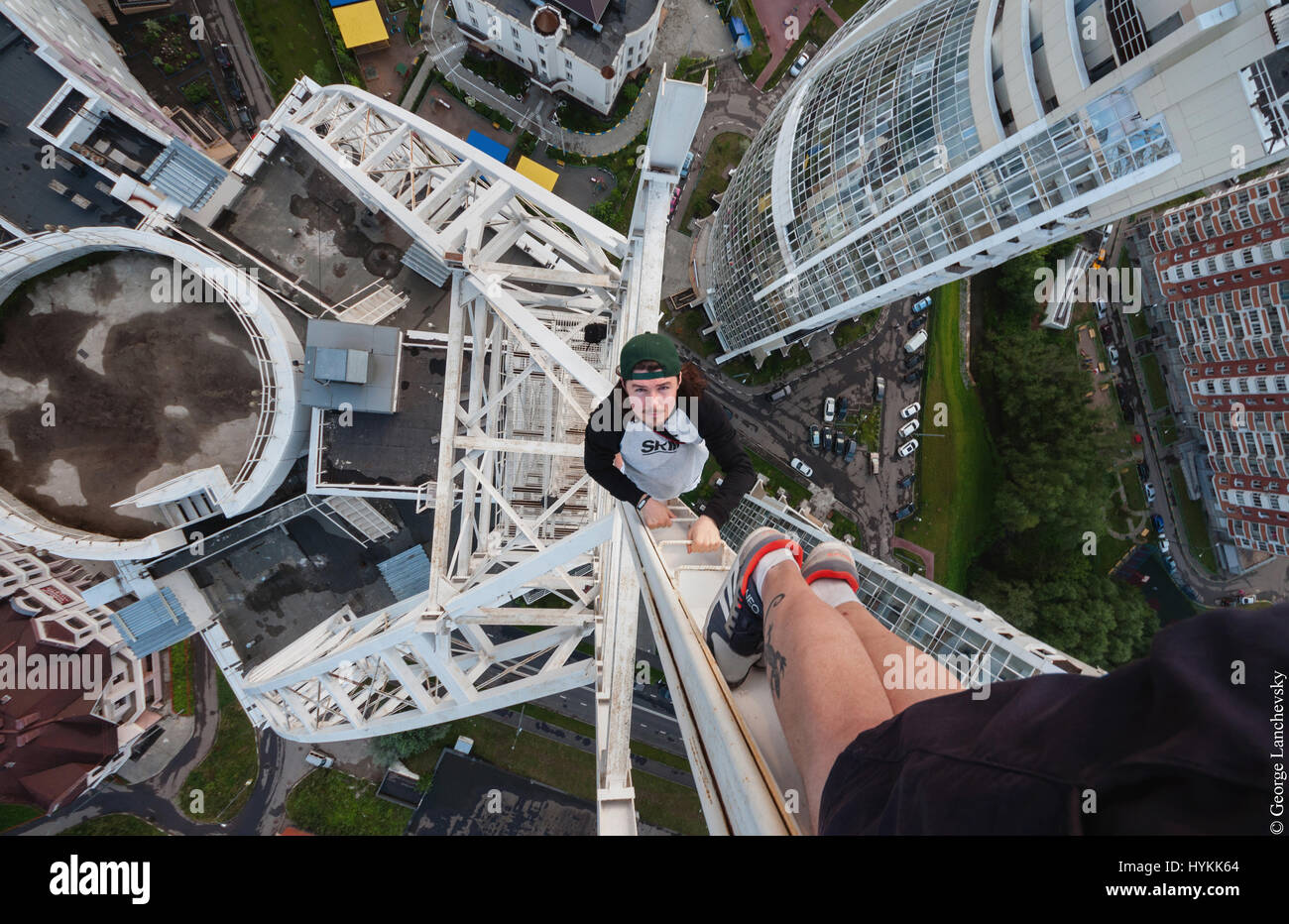 Moscow. VERTIGO inducing pictures from the top of a 155-foot-high crane have been captured by a photographer in - Stock Image