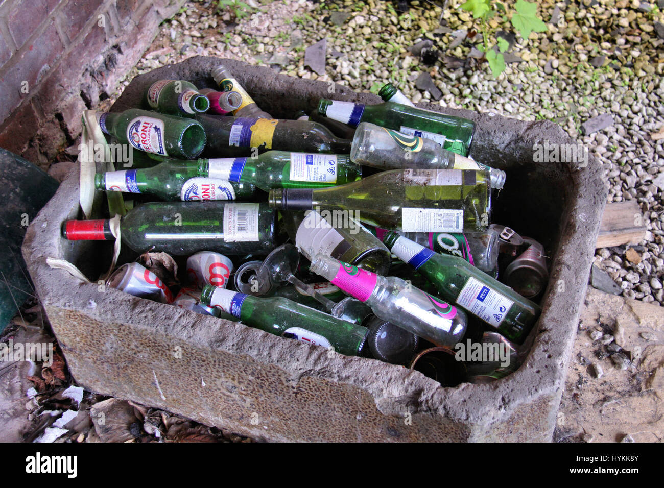SHROPSHIRE, UK: Recycled bottles. THE DELAPADATED remains of 'murder mansion' where a failed business man shot dead - Stock Image