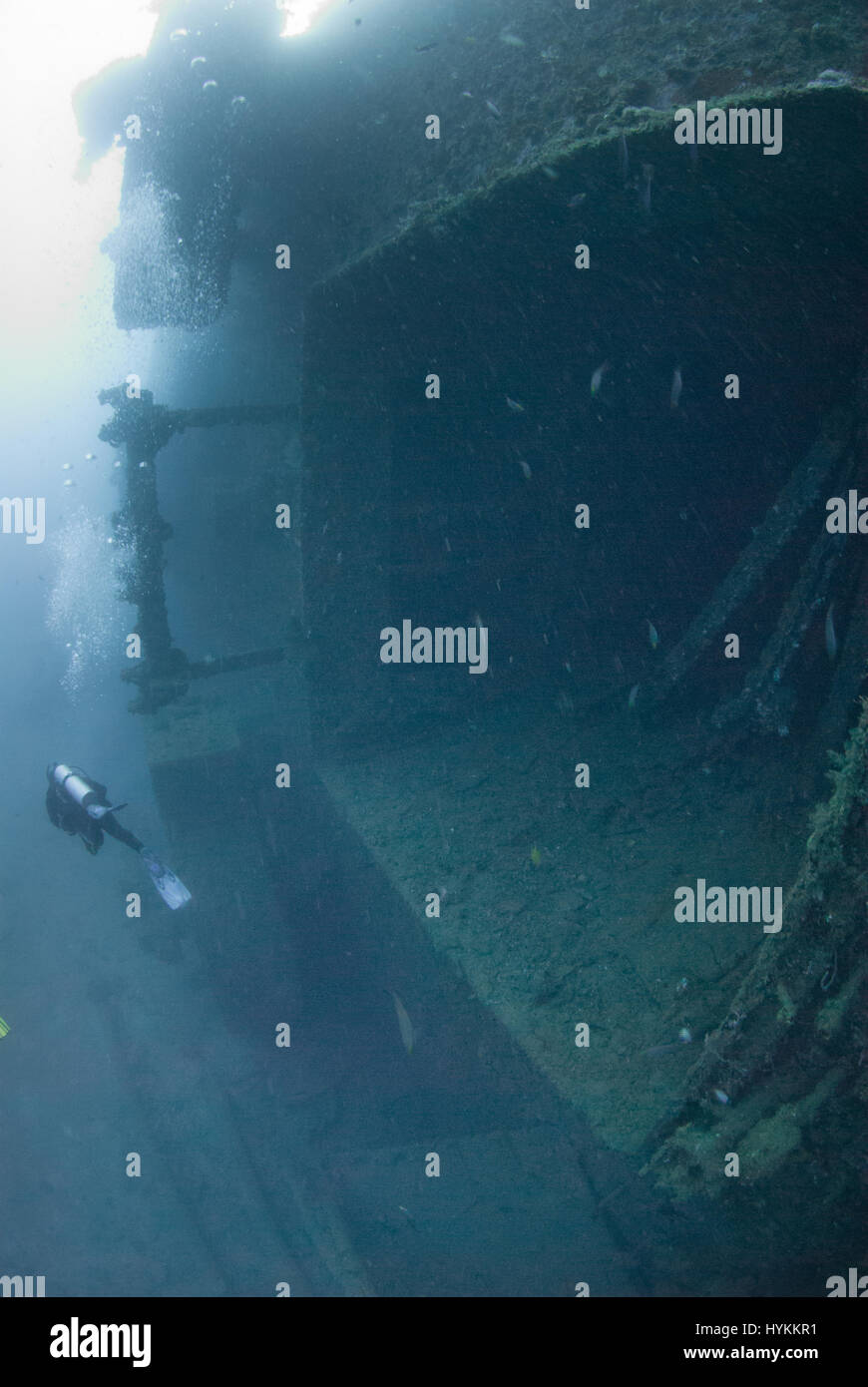 SPECTACULAR underwater pictures have revealed the 600-foot long remains of an American luxury ocean liner-turned - Stock Image
