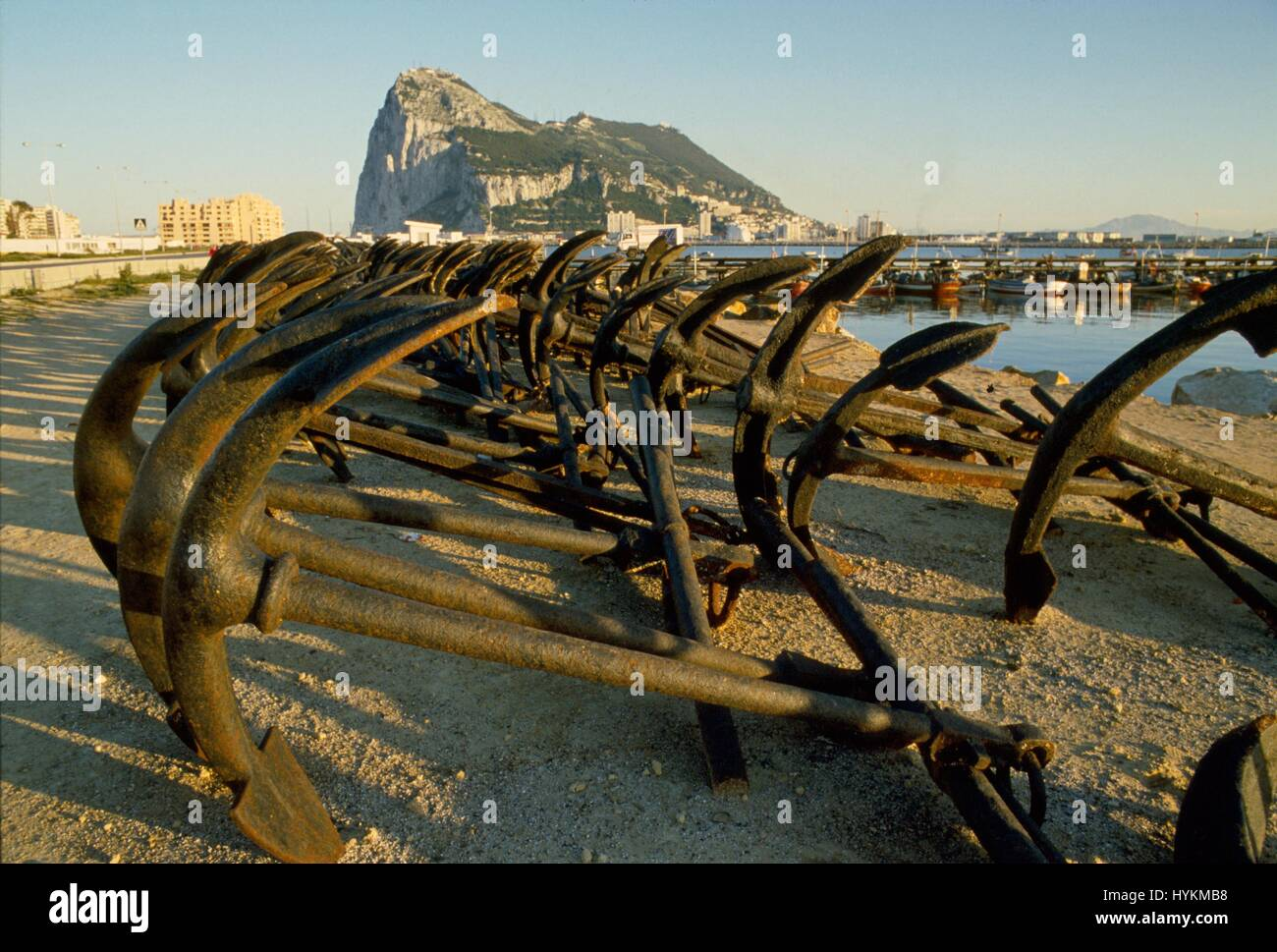 Gibraltar, the Rock seen from the beach of La Linea in Spain - Stock Image