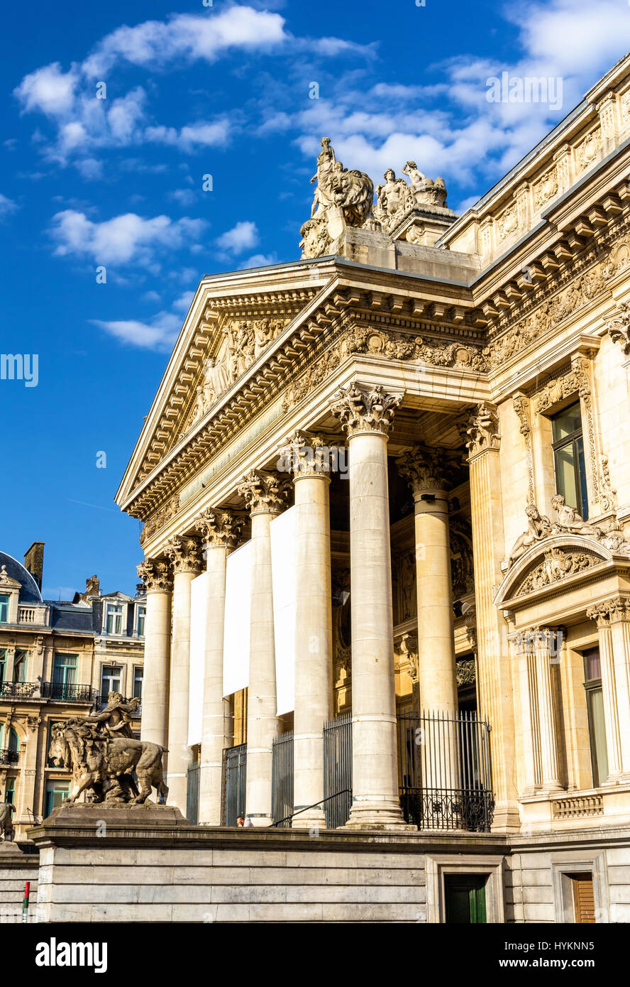 Facade of Brussels Stock Exchange - Belgium - Stock Image