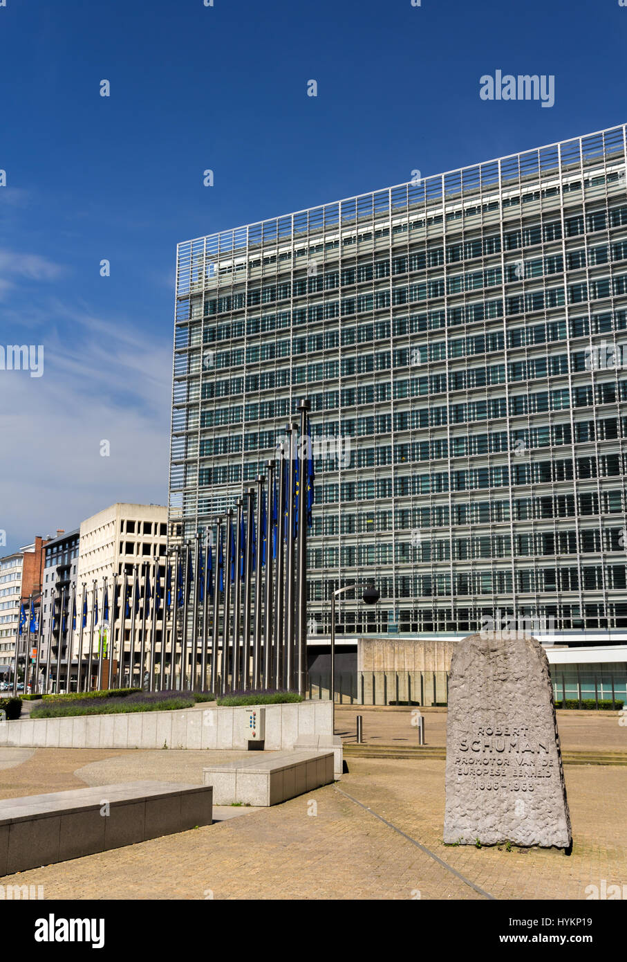 Berlaymont building of European Comission in Brussels - Stock Image