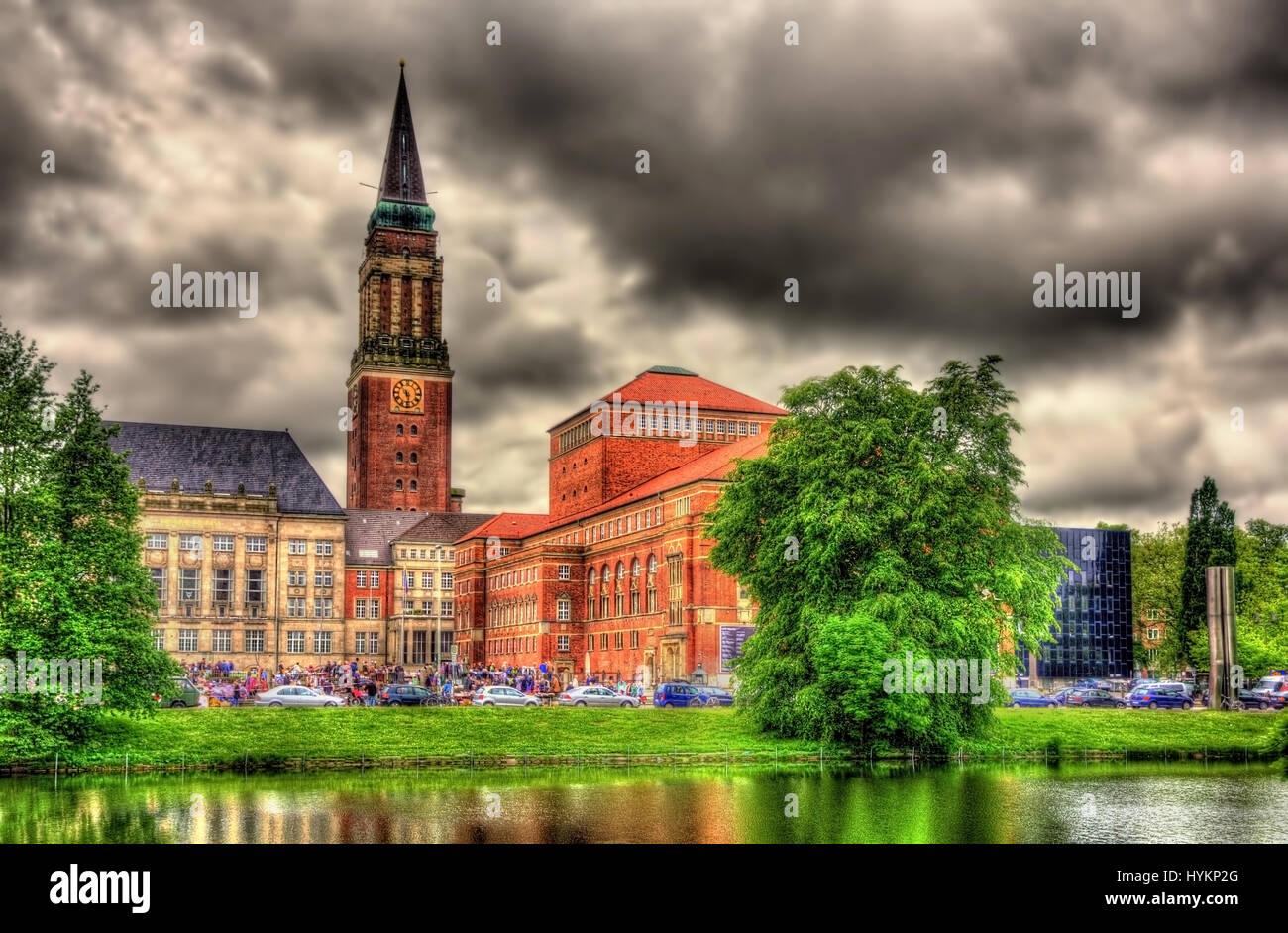 View of Kiel city hall - Germany - Stock Image