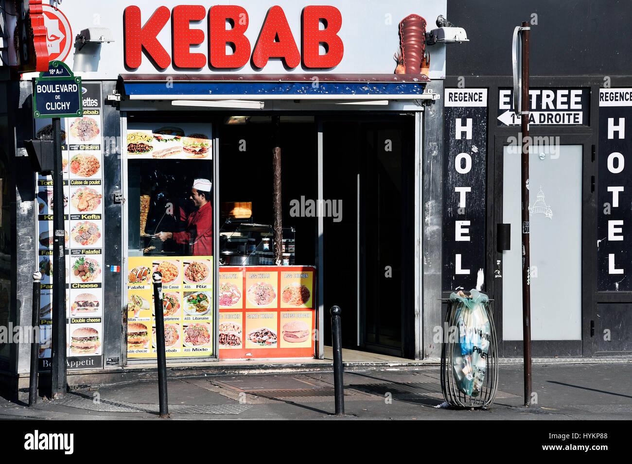 Kebab restaurant, Paris 18th, France - Stock Image