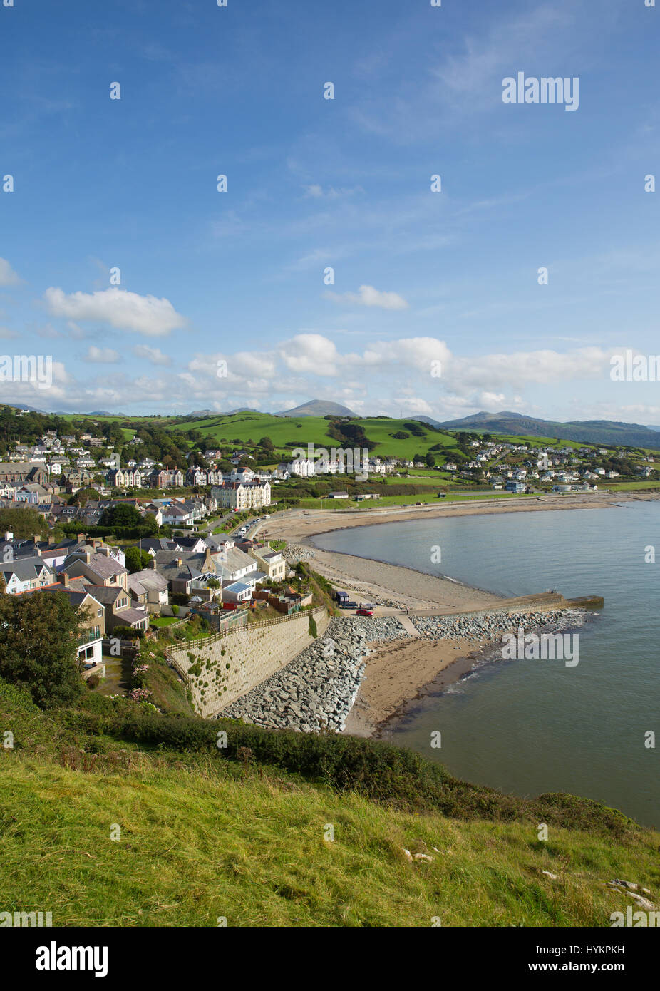 Criccieth North Wales UK historic coastal town in summer with blue sky on a beautiful day - Stock Image