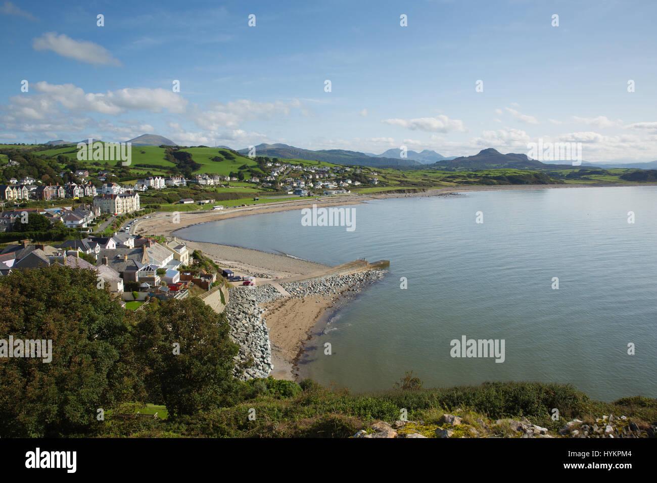 Criccieth Wales UK welsh coast town in Gwynedd located south of Caernarfon in summer on Cardigan Bay - Stock Image