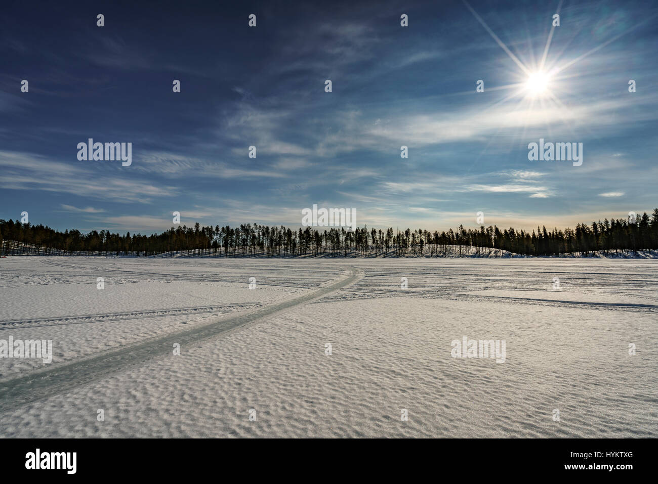 Winter landscape, Lapland, Sweden Stock Photo