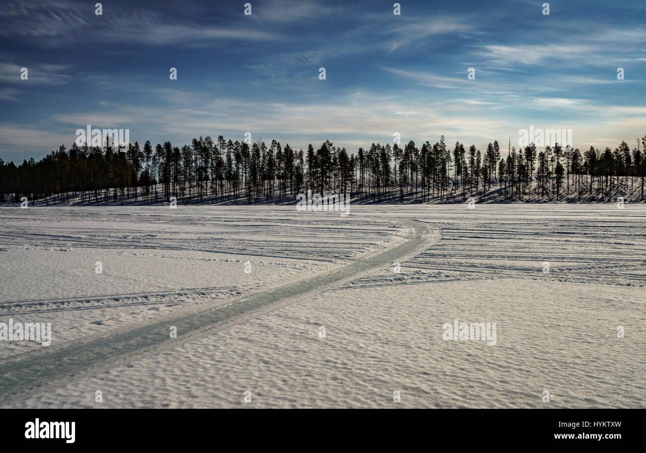 Winter landscape, Lapland, Sweden Stock Photo