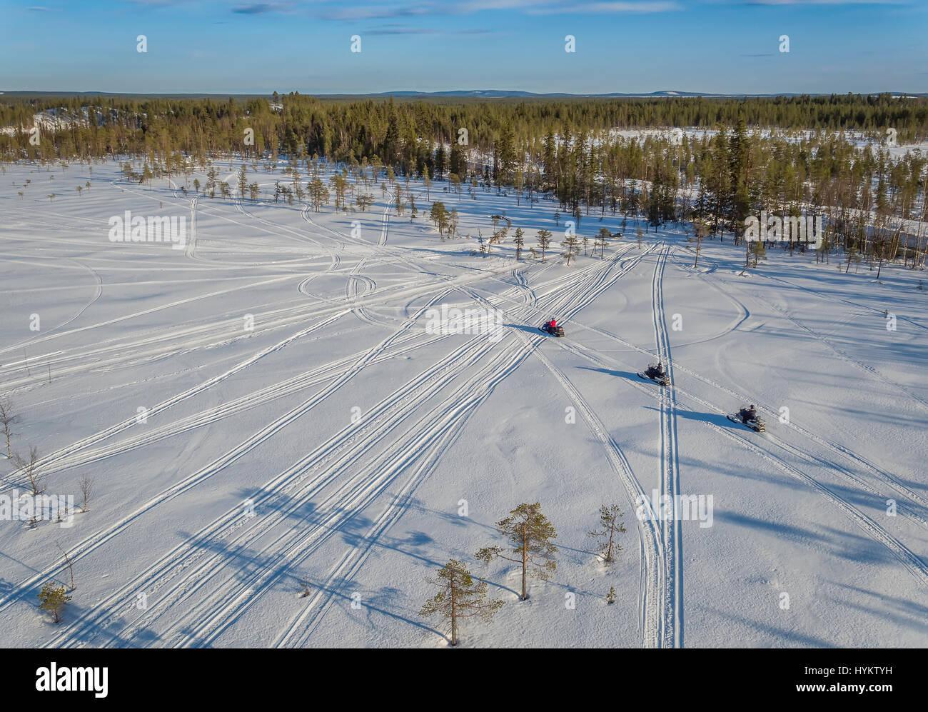 Snowmobiles, Lapland, Sweden - Stock Image