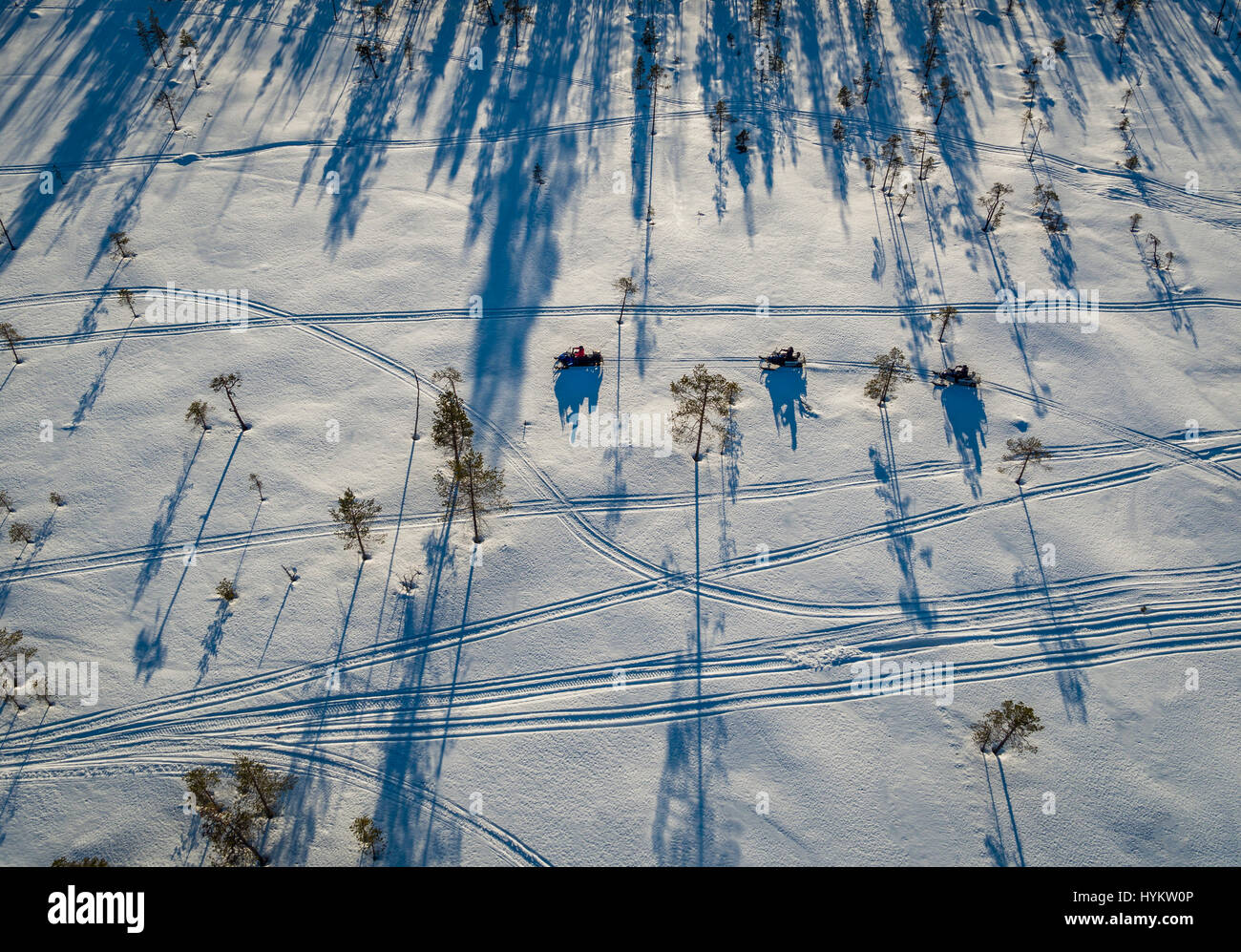 Snowmobiles, Lapland, Sweden. Drone photography - Stock Image
