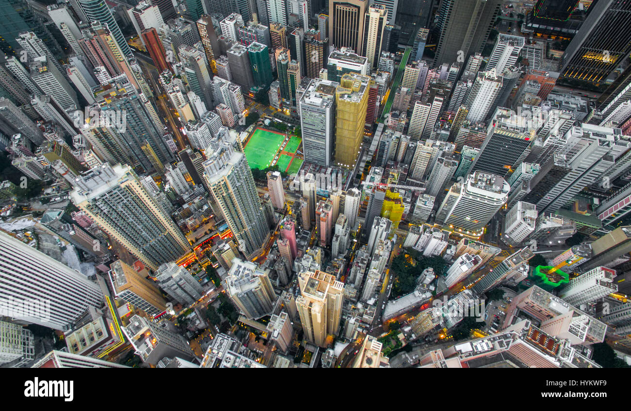 HONG KONG, CHINA: AERIAL shots taken by a drone from one thousand six hundred and forty feet in the air show the - Stock Image