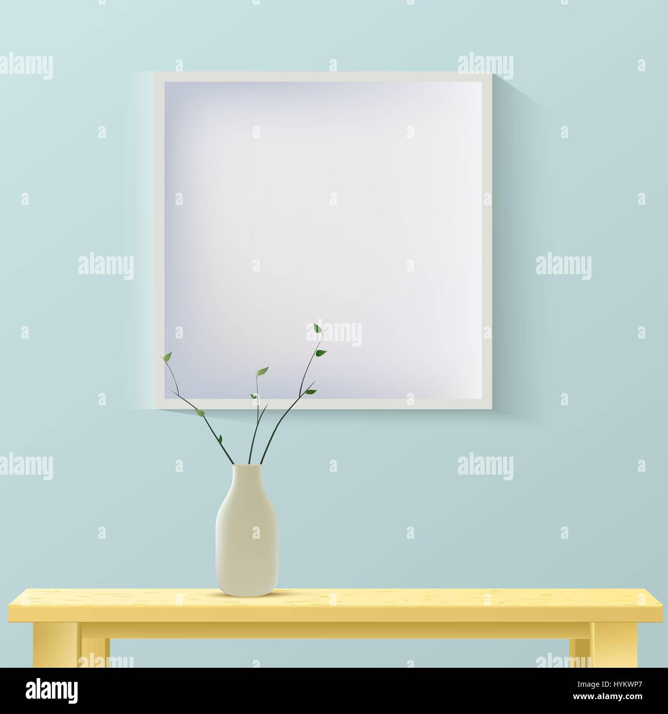 Interior room realistic mockup with frame or picture on wall,wooden table and vase. Layered, editable. Fashion trendy - Stock Vector