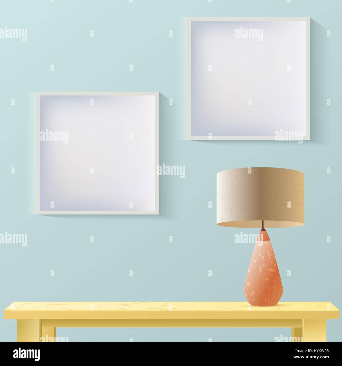 Interior room realistic mockup with frame or picture on wall,wooden table and lamp. Layered, editable. Fashion trendy - Stock Vector