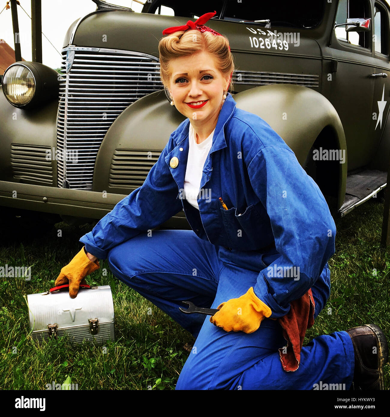 Woman in Wartime Workforce @ WWII Weekend – Reading, PA. A WW2 OBSESSIVE has spent more than £30,000 to travel - Stock Image