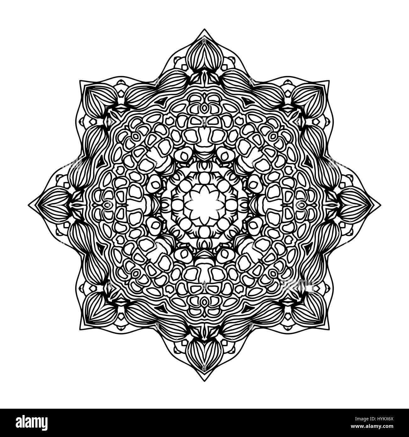 Mandala. Ethnic decorative round element. Hand drawn lacy pattern. Islam, Arabic, Indian, ottoman motifs. Boho style. - Stock Image