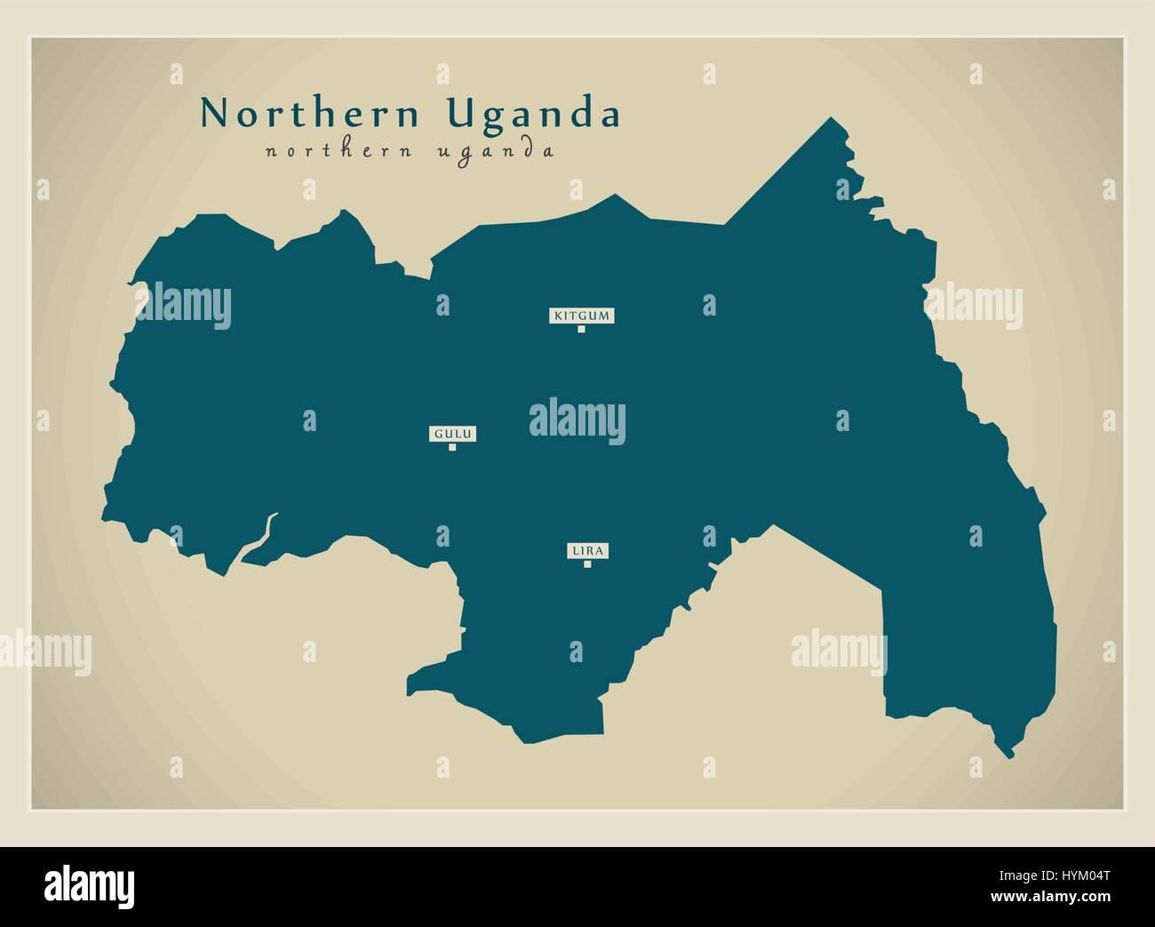 Modern Map - Northern Uganda UG Stock Vector Art & Illustration ...