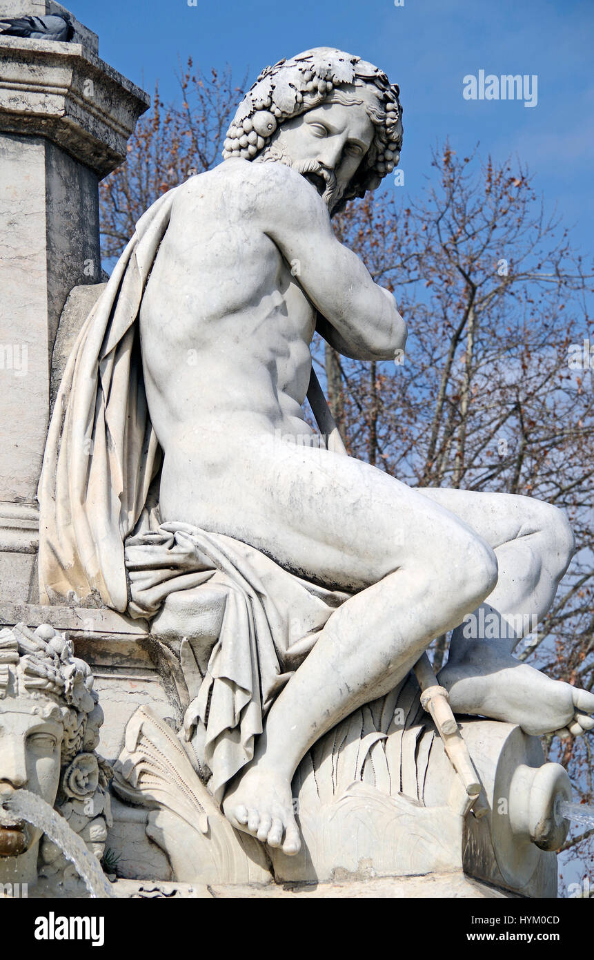Nimes, France, detail of the Pradier fountain, completed 1852 showing sculpture representing the River Gardon (Vardo), - Stock Image