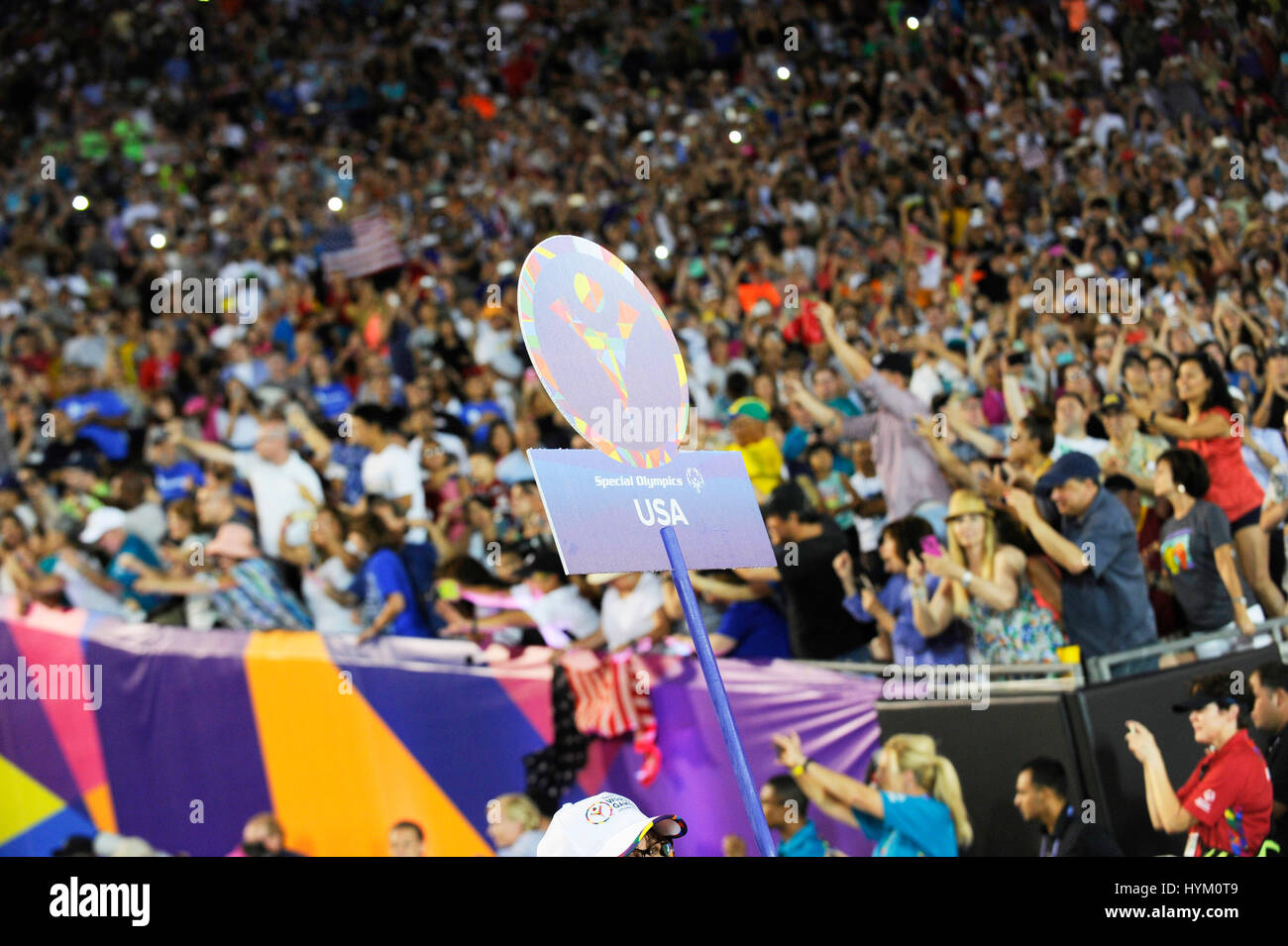 at the Special Olympics World Games Opening Ceremony at the Coliseum on July 25th, 2015 in Los Angeles, California. - Stock Image