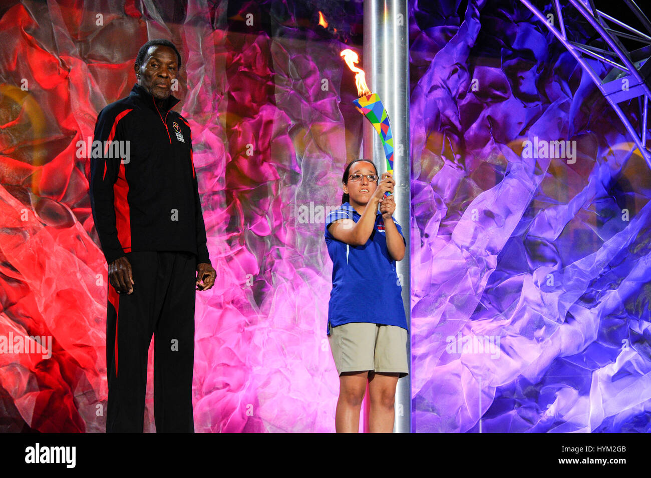 Torch lighting ceremony with athletes at the Special Olympics World Games Opening Ceremony at the Coliseum on July - Stock Image