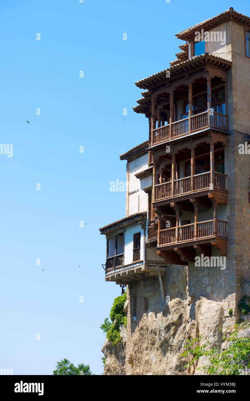 Buildings known as Casas Colgadas in Cuenca, Castilla La Mancha, Spain. Stock Photo