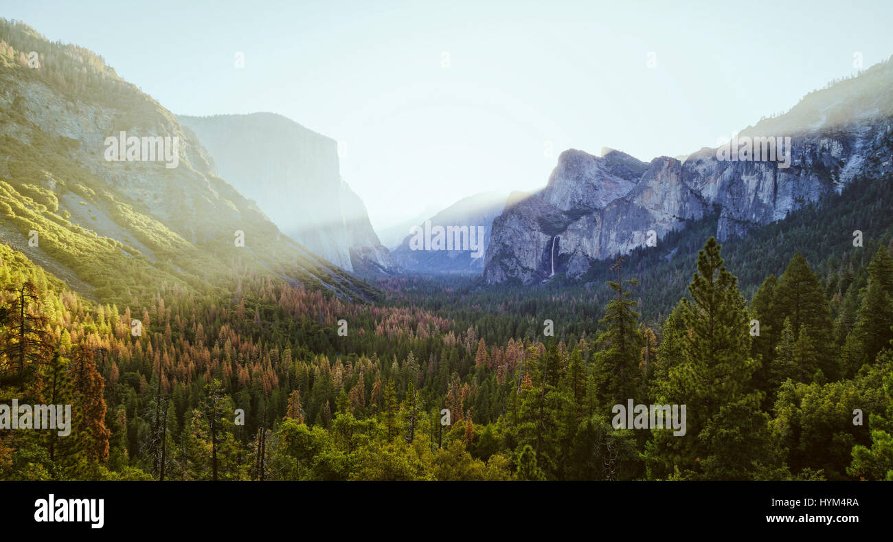 Classic Tunnel View of scenic Yosemite Valley with famous El Capitan and Half Dome rock climbing summits in beautiful - Stock Image