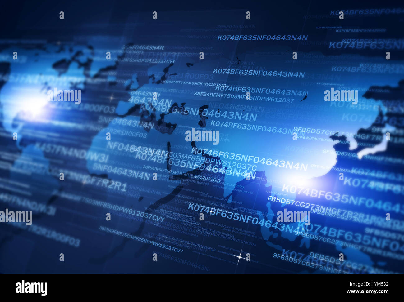 digital coding concept technology network security blue background - Stock Image